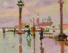 "Beautiful Landscapes by Hugo Grenville British Painter -""St Mark's Square, Late Winter Morning"""