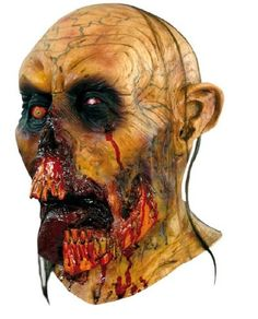 Super detailed, full over the head mask, individually hand painted for the most realistic look possible. Decayed zombie look with rotted jaws and tongue hanging between partial remaining teeth.