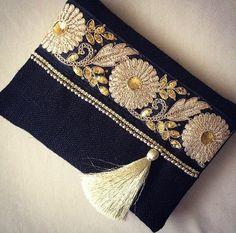 Black Ethnic Clutch, Black Jute Handmade Handbag, Gold Colour Ribbon, Mothers…