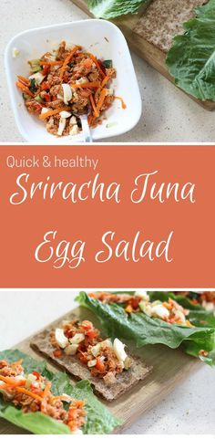 This is the perfect quick lunch or snack option! Sriracha tuna egg salad is a spicy and flavorful variation of your typical tuna salad. Super easy to make, loaded with protein, healthy and low fat! #ad #teareatgo