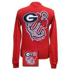 New Georgia Bulldogs Anchor Bow Girlie Bright Long Sleeves T Shirt | SimplyCuteTees