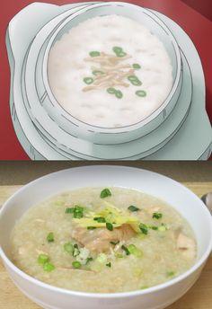 Chicken rice porridge via okayu akatsuki no yona