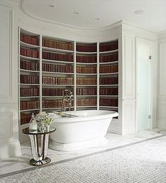 Bathing among the books - I could soak here for days Dream Spa Room #SpaHouseParty