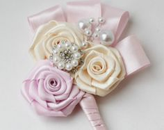 Ivory wedding boutonniere for brooch bouquet Wedding