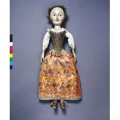 """English. 1690-1700. """"Lady Clapham"""" in a linen shift with stays & a petticoat. #T.846.1974"""