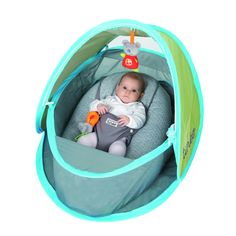 Designed in France, this innovative portable baby tent offers protection from sun and bugs for your little one. It easily folds for storage when not in use, for added convenience. Made from easy to clean nylon.