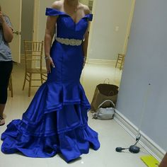 Blue prom jovani mermaid dress Blue mermaid jovani dress worn once for a wedding in November 2015. This dress has been altered to measurements of:  Bust 39 waist 31 1/2 Hips 42 Jovani Dresses Prom