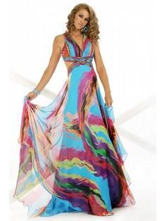 A-Line Halter Top Prom Gown With Side Cutouts