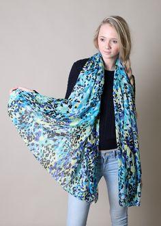 Women's Belize Animal Print Blue Multicolor Scarf Fashion Shawl at Amazon Women's Clothing store: Fashion Scarves