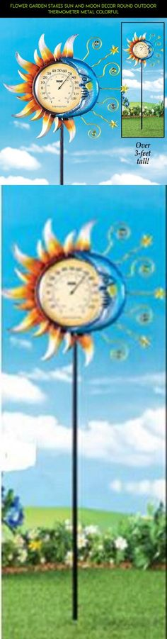 Flower Garden Stakes Sun and Moon Decor Round Outdoor Thermometer Metal Colorful #kit #thermometer #plans #decor #fpv #outdoor #camera #racing #shopping #technology #parts #tech #drone #products #gadgets