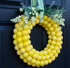 DIY spring ping pong wreath