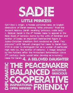 SADIE Personalized Name Print / Typography Print / by OhBabyNames