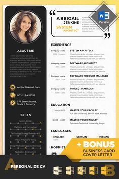 Check out Abbigail Jenkins – System Architect Resume Template. This print-ready pack includes a pre-designed Resume + Cover Letter. Architect Career, Architect Resume, Architect Logo, Architect Drawing, Architect House, Creative Cv Template, Creative Resume, Cv Design Template, Studio Mumbai