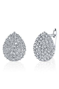 Montage Designer Pave Crystal Leverback Earrings