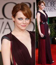 "Emma Stone (5'6"") | Kibbe Soft Natural | Golden Globe Awards 2012 | Lanvin Dress"