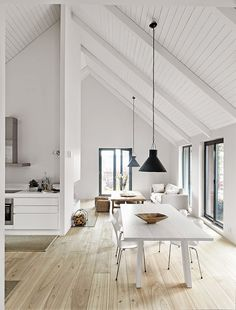 Pitched Roofing + Wooden Beams - The Design Chaser. home decor and interior decorating idea. Style At Home, Sweet Home, Deco Design, Home And Deco, White Walls, White Wood, White Beams, White Ceiling, Raked Ceiling
