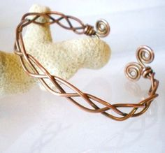 Celtic Style Braided Copper Cuff Spiral Ends Antique Finish | JewelryArtByDawn - Jewelry on ArtFire