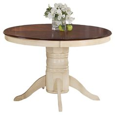 Found it at Wayfair - Stephen Dining Table in Buttermilk & Dark Cherry  Great idea to re-purpose oak dining room set