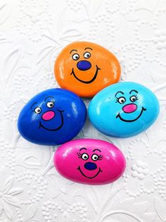 Worry Stones for Kids, Pocket Rock for Children, Back to School Comfort Stone, Silly Face Pocket Roc - Locken Rock Painting Patterns, Rock Painting Ideas Easy, Rock Painting Designs, Paint Designs, Painting For Kids, Pebble Painting, Pebble Art, Stone Painting, Painted Rocks Craft