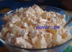 Салат с ананасами и курицей  Ингредиенты:  Консервированные ананасы (1 банка) Яйца (4 шт.) Куриное филе (500 г) Сыр (100 г) Майонез  Приготовление:  Отварить куриное филе, нарезать кубиками. Отварить яйца, нарезать кубиками. Измельчить ананасы. Натереть сыр на крупной терке. Перемешать подготовленные ингредиенты, заправить майонезом. Приятного аппетита #Кулинария #еда #рецепты #выпечка #вкусно   Остальные рецепты на сайте http://povar.pw/