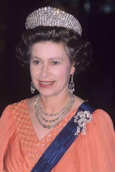 A cloes up of HM, wearing the kokoshnic tiara, in 1976