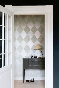 My Harlequin Mint wallpaper combined with Studio Green from Farrow & Bal. Furntiure from Chelsea Textiles. Photograph by Line Klein, /stine langvad featured in Danish Elle Decoration, may issue. 2014