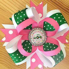 GREEN & PINK JOHN DEERE TRACTOR BOTTLE CAP HAIR BOW GIFT BIRTHDAY PARTY   eBay