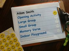 "Customized schedule for ministry participants with special needs.  As a child completes each activity, he/she can place a smiley face on the schedule.  By instructing the assigned buddy to review the schedule and utilize the stickers as each activity is ""finished"", the student with special needs may experience reduced anxiety and smoother transitions during their church participation."