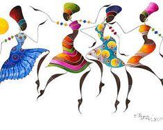African Dancers, BIKUTSI 2 in a Set of 5 cm Blank African Greeting Cards, African Art, African Woman Art, African Fashion African Art Paintings, Dance Paintings, Corel Draw Design, Art Africain, Africa Art, Black Artwork, African American Art, Black Women Art, Sacred Art