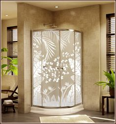 Tropical Oasis Frosted Privacy Window Film 9
