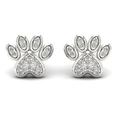 De Couer 10k White Gold 110ct TDW Diamond Dog Paw Print Earrings HK I2 -- Click image for more details.(This is an Amazon affiliate link and I receive a commission for the sales)