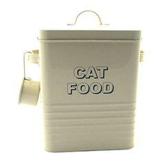 Vintage Retro Style Matt Enamel CAT FOOD Tin ~ Cream