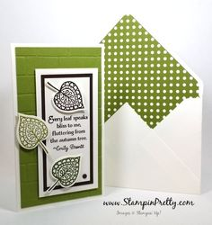 Falling for Leaflets Framelits Dies - http://stampinpretty.com/2015/08/falling-for-leaflets-framelits-dies.html  Make a little fall magic with the Lighthearted Leaves stamp set and Leaflets Framelits Dies.  More details & Stampin' Up! card ideas on my Stampin' Pretty blog, http://stampinpretty.com.  Mary Fish, Independent Stampin' Up! Demonstrator.