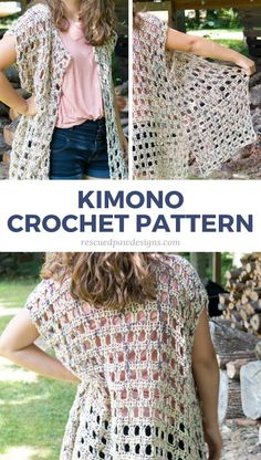 New Crochet Pattern the Mara Kimono - Crochet Kimono Pattern by Rescued Paw Designs - Make this simple & FREE crocheted Pattern for a Kimono Today! Kimono Pattern Free, Crochet Cardigan Pattern, Crochet Shirt, Crochet Jacket, Crochet Vests, Crochet Shrugs, Easy Crochet, Crochet Top, Free Crochet