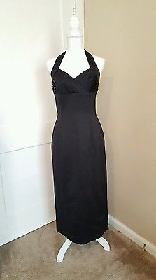 Ann Taylor Halter Strap Long Formal Gown Black Dress Size 6
