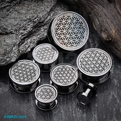 A Pair of Blackline Flower of Life Screw-Fit Tunnel Plug