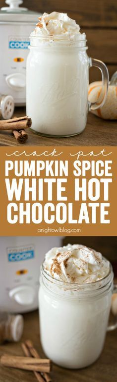 This Crock Pot Pumpkin Spice White Hot Chocolate is just three ingredients and is so easy to make! Perfect for a chilly fall evening! This Crock Pot Pumpkin Spice Yummy Drinks, Delicious Desserts, Dessert Recipes, Yummy Food, Drink Recipes, Frosting Recipes, Dessert Ideas, Pumpkin Recipes, Fall Recipes