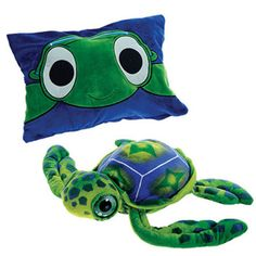 Big Eyed Turtle Peek A Boo Pillow. Peek-A-Boo Plush is a pillow that unzips and becomes a stuffed animal. Unzip again, and the animal becomes a pillow. Turtle Plush, Russian Tortoise, Baby Shower Niño, Turtle Love, Tortoises, Animal Pillows, Peek A Boos, Big Eyes, Pet Toys