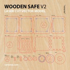 Wooden SAFE. Version 2.0 Vector model / project plan for laser cutting. cartonus.com/safe-of-plywood/ Ready for laser cut and laser engraving. Gift #1 for friends. A good business idea. Unusual, interesting and useful! The second version of WOODEN SAFE has: – more strong body, – reinforced hinges, – easy assembly, – adjustable lock code. Create of plywood 3.2 mm (1/8 inch). Dimension internal: 84x84x104 mm. Dimension external: 112x104x120 mm. Digital product includes AI, EPS, PDF, ...