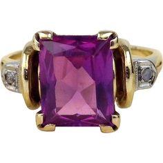 Emerald Cut Natural Purple Amethyst & Diamond Cocktail Ring