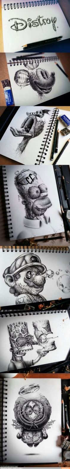 Distroy by PEZ // funny pictures - funny photos - funny images - funny pics - funny quotes - (Cool Art Drawings) Amazing Drawings, Cool Drawings, Amazing Art, Creepy Drawings, Awesome, Digital Art Illustration, Tatoo Art, Pencil Art, Pencil Shading