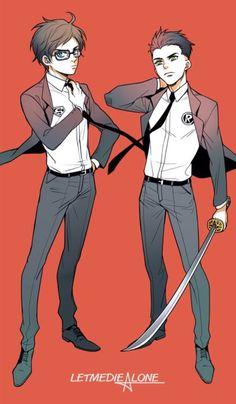Superboy Jonathan Kent and Robin Damian Wayne