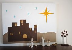 grace and light: Bethlehem Scene but make it life size for a Christmas pageant backdrop!