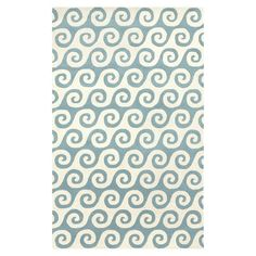 Highlighted by an ivory and sky blue wave motif, this hand-tufted wool rug adds a touch of coastal-chic style to your decor.     Prod...