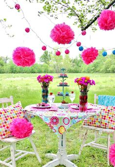 A Garden Party with sprinkle dipped strawberries and cupcakes