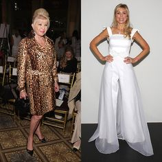 President Trump's ex-wives both turned out to support NY fashion, with Ivana Trump wearing animal print to Dennis Basso, left, and Marla Maples wearing wide-legged white trousers to John Paul Ataker.