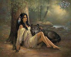 Wolf w/ Indian Girl