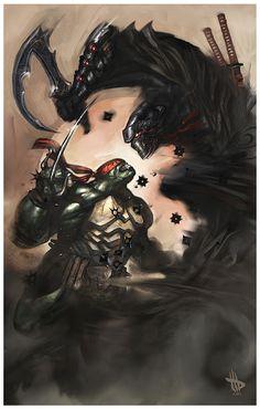 geek, comiccartoon stuff, digital paintings, tmnt, davewilkin, shredder, ninja turtles, turtl power, dave wilkin