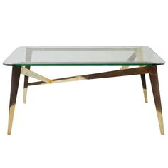 Glass and Brass Table | From a unique collection of antique and modern tables at http://www.1stdibs.com/furniture/tables/tables/