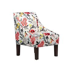 Fletcher Swoop-Arm Chair Multi Floral Accent & Occasional Chairs ($315) ❤ liked on Polyvore featuring home, furniture, chairs, accent chairs, swoop arm chair, mid century modern chair, floral armchair, floral arm chair and white armchair